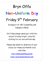 Bryn Offa poster for non-uniform day on 9th Feb for U&I Counselling and Designs in Mind