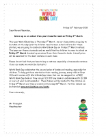 Letter re dressing up for World Book Day on Friday 2nd March- 16.02.18
